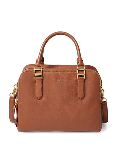 Lauren Ralph Lauren Pebbled Leather Satchel-BROWN-One Size