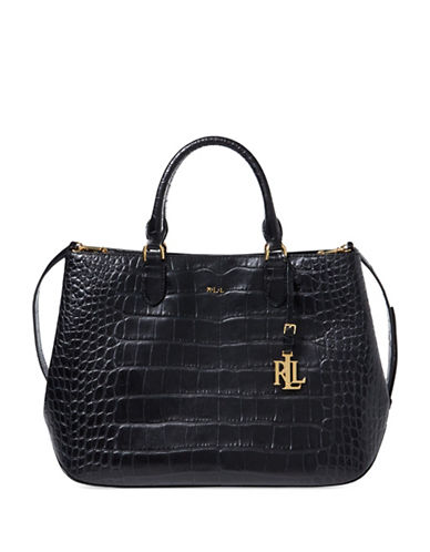 Lauren Ralph Lauren Sabine Croc-Embossed Leather Satchel-BLACK-One Size