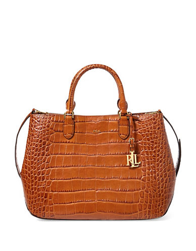 Lauren Ralph Lauren Sabine Croc-Embossed Leather Satchel-COPPER-One Size