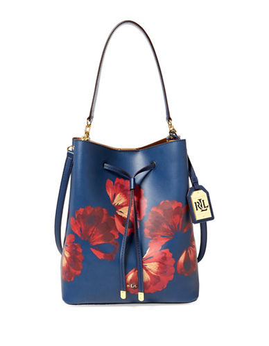 Lauren Ralph Lauren Leather Debby Drawstring Bucket Bag-BLUE-One Size