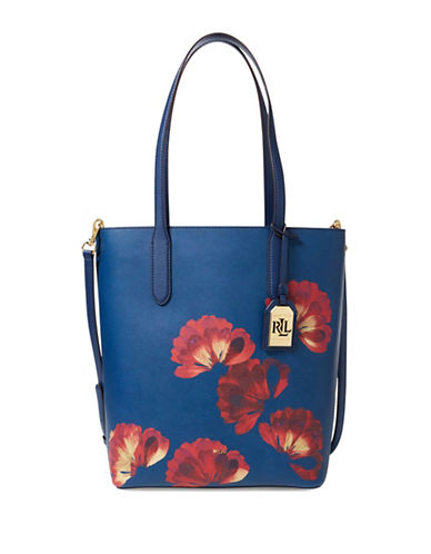 Lauren Ralph Lauren Alexis Leather Tote-BLUE-One Size
