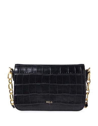 Lauren Ralph Lauren Carmen Croc-Embossed Leather Crossbody Bag-BLACK-One Size