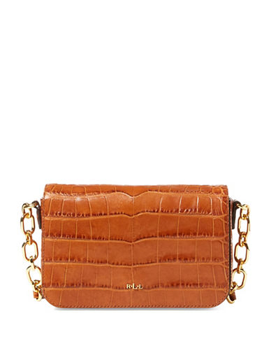 Lauren Ralph Lauren Croc-Embossed Leather Crossbody Bag-COPPER-One Size