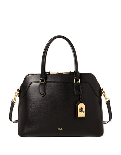 Lauren Ralph Lauren Saffiano Leather Nora Satchel-BEIGE-One Size