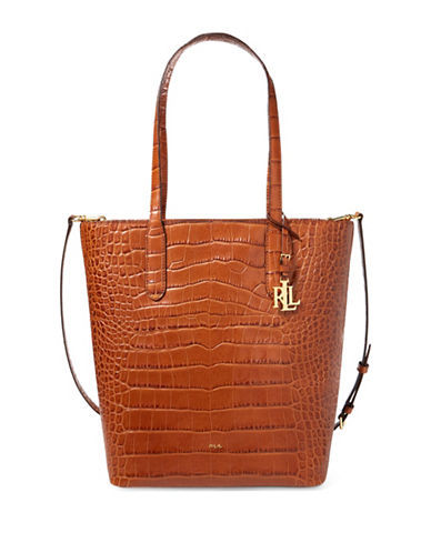 Lauren Ralph Lauren Alexis Crocodile Embossed Leather Tote-COPPER-One Size