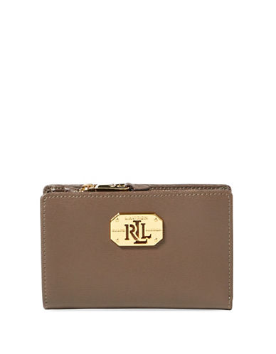 Lauren Ralph Lauren Newbury Leather Compact Wallet-BROWN-One Size