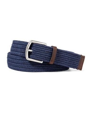Polo Ralph Lauren Stretch Waxed Cotton Belt-NAVY-Small