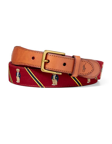 Polo Ralph Lauren Polo Bear Overlay Webbed Belt-BURGUNDY-36
