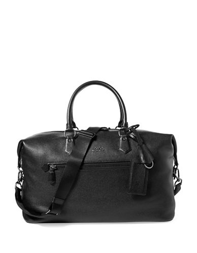 Polo Ralph Lauren Pebbled Leather Duffel Bag-BLACK-One Size