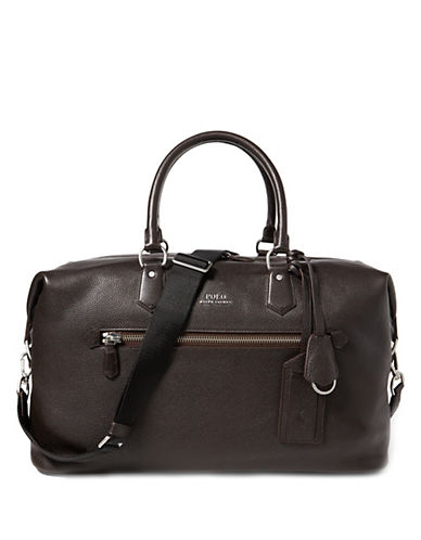 Polo Ralph Lauren Pebbled Leather Duffel Bag-DARK BROWN-One Size