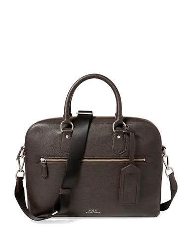 Polo Ralph Lauren Pebbled Leather Briefcase-DARK BROWN-One Size