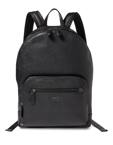Polo Ralph Lauren Pebbled Leather Backpack-BLACK-One Size