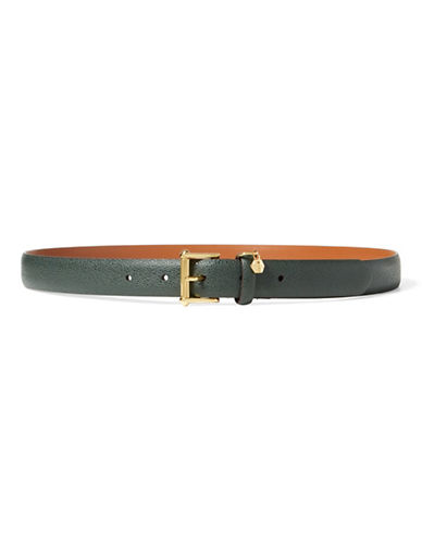 Lauren Ralph Lauren Stingray-Embossed Leather Belt-BLACK-Medium