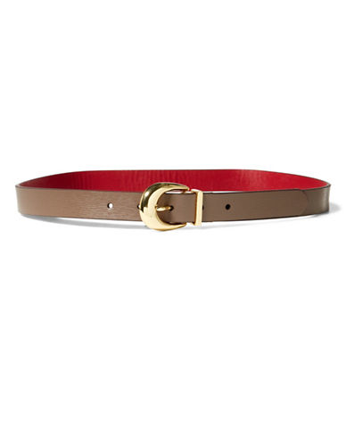 Lauren Ralph Lauren Reversible Leather Belt-BROWN/RED-Large