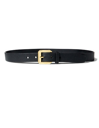 Lauren Ralph Lauren Emden Pebbled Belt-BLACK-Medium