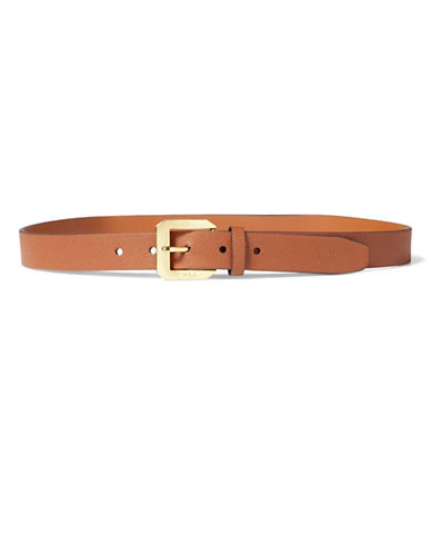 Lauren Ralph Lauren Emden Pebbled Belt-BROWN-Large