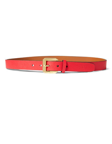 Lauren Ralph Lauren Emden Pebbled Belt-RED-Large