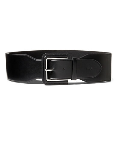 Lauren Ralph Lauren Lauren Stretch Faux Leather Belt-BLACK-X-Large