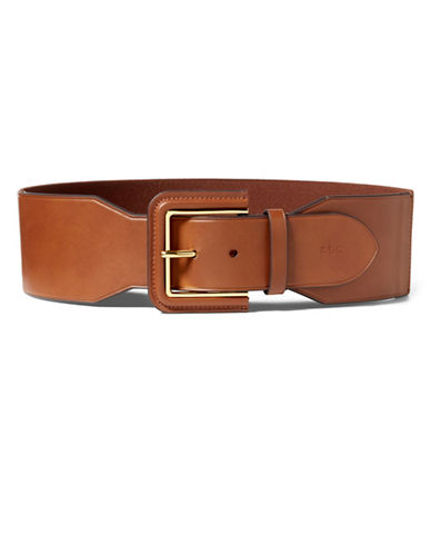 Lauren Ralph Lauren Lauren Stretch Faux Leather Belt-BEIGE-Large