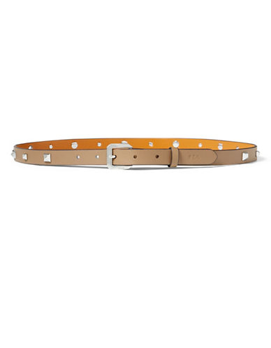 Lauren Ralph Lauren Dryden Studded Skinny Belt-BROWN-Small