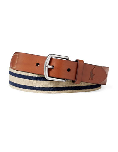 Polo Ralph Lauren Striped Stretch Webbed Belt-KHAKI/NAVY-42