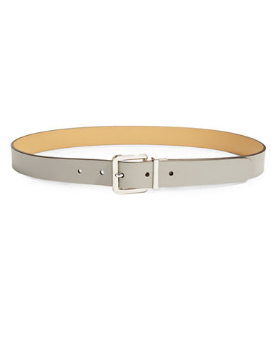 Lauren Ralph Lauren Reversible Leather Buckle Belt-LIGHT GREY-X-Large