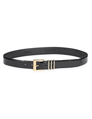 Lauren Ralph Lauren Square Buckled Leather Belt-BLACK-Medium