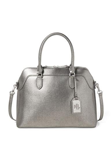 Lauren Ralph Lauren Metallic Leather Satchel-SILVER-One Size