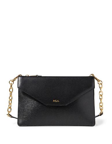 Lauren Ralph Lauren Saffiano Leather Crossbody Bag-BLACK-One Size