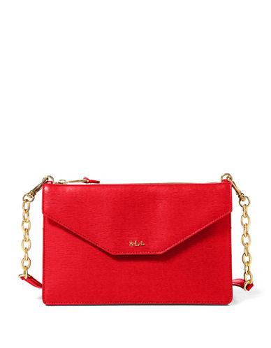 Lauren Ralph Lauren Saffiano Erika Leather Crossbody Bag-RED-One Size
