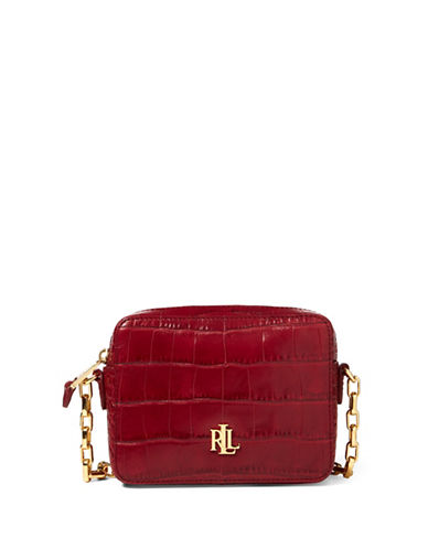 Lauren Ralph Lauren Croc-Embossed Leather Crossbody Bag-VERMILLION-One Size
