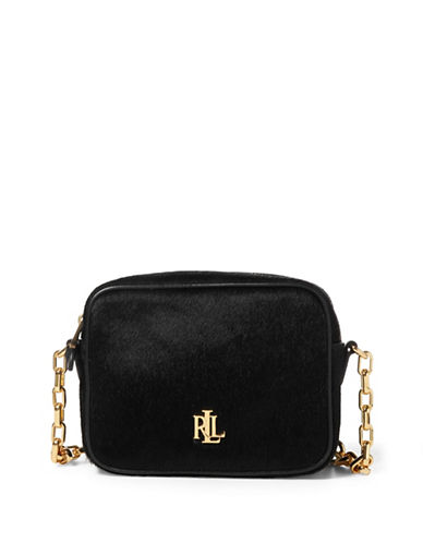 Lauren Ralph Lauren Chain Haircalf Crossbody Bag-BLACK-One Size