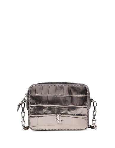 Lauren Ralph Lauren Metallic Leather Crossbody Bag-SILVER-One Size