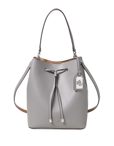 Lauren Ralph Lauren Drawstring Leather Bucket Bag-GREY-One Size