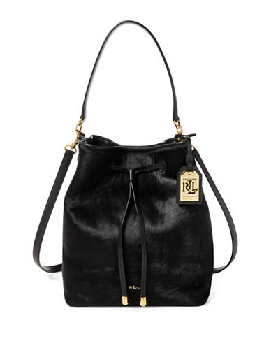 Lauren Ralph Lauren Drawstring Leather Bucket Bag-BLACK-One Size