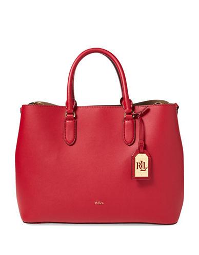 Lauren Ralph Lauren Leather Tote-RED-One Size