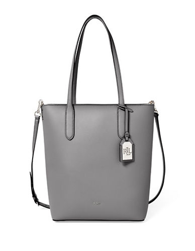 Lauren Ralph Lauren Convertible Leather Tote-GREY-One Size