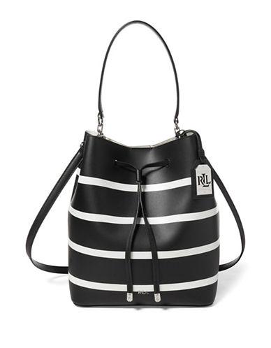 Lauren Ralph Lauren Striped Leather Drawstring Bucket Bag-BLACK-One Size