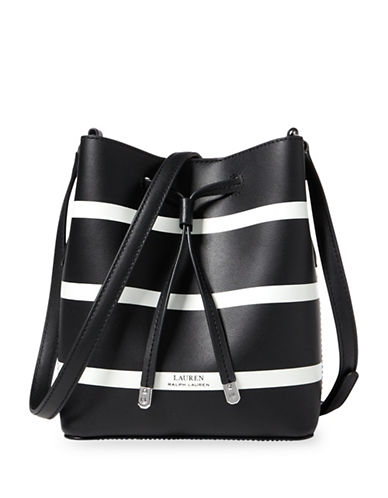 Lauren Ralph Lauren Striped Debby II Mini Drawstring Bag-BLACK-One Size