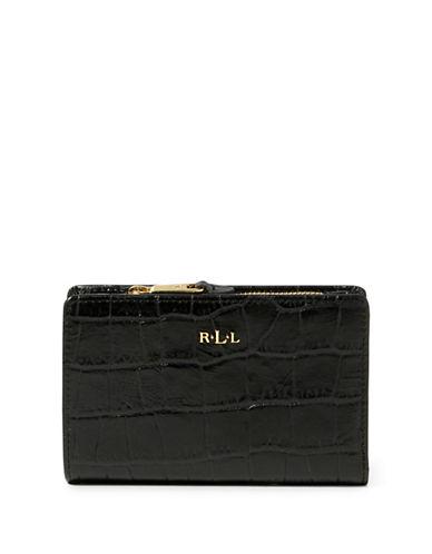 Lauren Ralph Lauren Croco-Embossed Leather Bi-Fold Wallet-BLACK-One Size