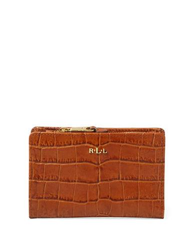 Lauren Ralph Lauren Croc-Embossed Leather Bi-Fold Wallet-BOURBON-One Size