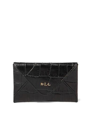 Lauren Ralph Lauren Croco-Embossed Leather Card Case-BLACK-One Size
