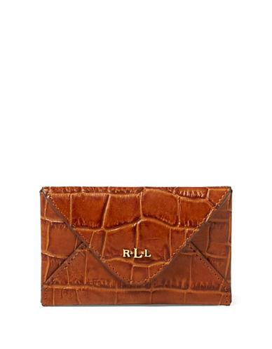 Lauren Ralph Lauren Croco-Embossed Leather Card Case-BOURBON-One Size