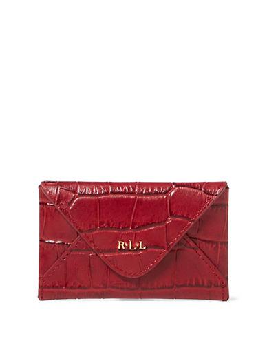 Lauren Ralph Lauren Croco-Embossed Leather Card Case-RED-One Size