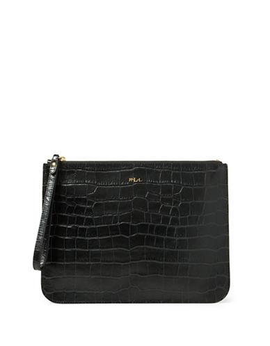 Lauren Ralph Lauren Croco-Embossed Leather Wristlet-BLACK-One Size