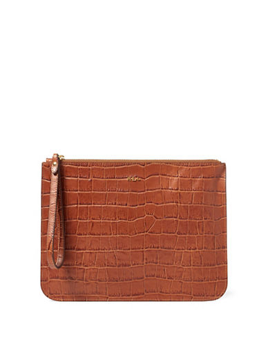 Lauren Ralph Lauren Croco-Embossed Leather Wristlet-BOURBON-One Size
