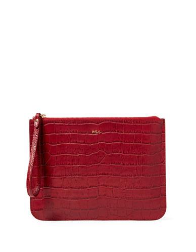 Lauren Ralph Lauren Croco-Embossed Leather Wristlet-RED-One Size