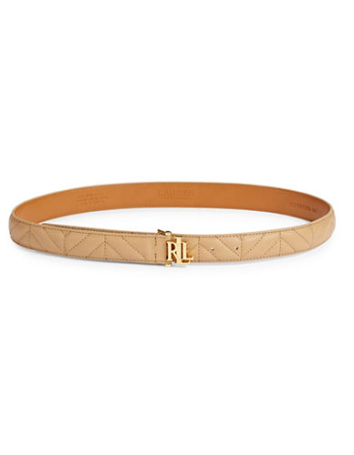 Lauren Ralph Lauren Quilted Leather Belt-PALOMINO-X-Large
