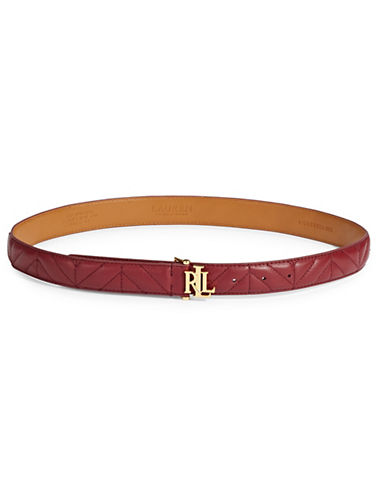 Lauren Ralph Lauren Square Buckled Leather Belt-VERMILLION-Large