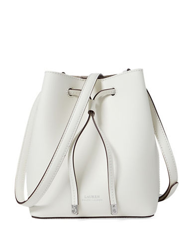 Lauren Ralph Lauren Mini Leather Drawstring Bag-IVORY-One Size